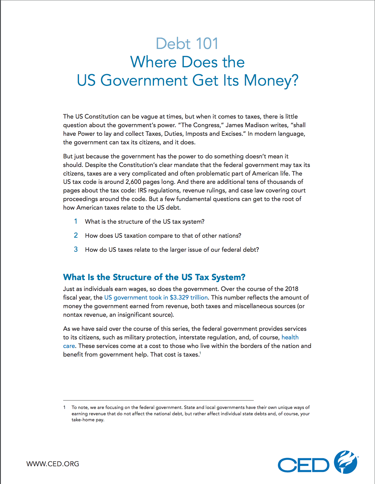 Where Does the US Government Get Its Money? | Committee for